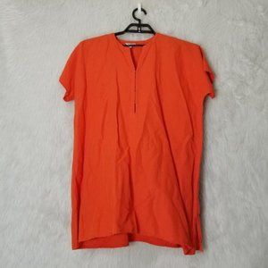 Emerson Fry Orange Split Neck Short Sleeve Blouse